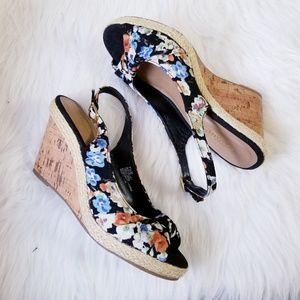 Seychelles Floral Wedge Heel Sandal Strap Back